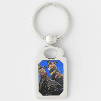 Brindles waiting for Santa Silver-Colored Rectangle Key Ring