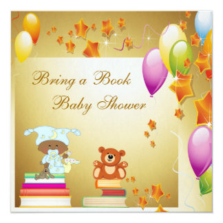 Bring a Book African American Boy Baby Shower 5.25x5.25 Square Paper Invitation Card