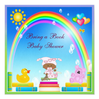Bring a Book African American Girl Baby Shower 5.25x5.25 Square Paper Invitation Card