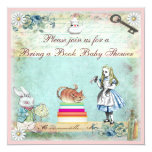 Bring a Book Alice & Cheshire Cat Baby Shower 13 Cm X 13 Cm Square Invitation Card