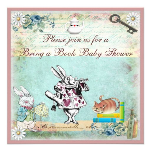 Bring a Book Alice & Cheshire Cat Baby Shower Announcement