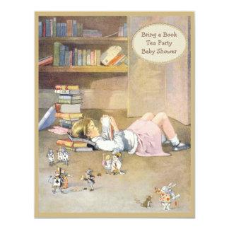 Bring a Book Alice in Wonderland Baby Shower 11 Cm X 14 Cm Invitation Card