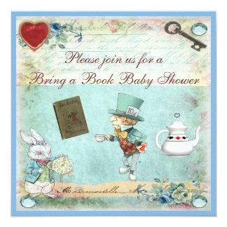 Bring a Book Alice in Wonderland Baby Shower 13 Cm X 13 Cm Square Invitation Card