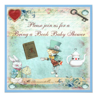 Bring a Book Alice in Wonderland Baby Shower Card