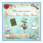 Bring a Book Alice in Wonderland Baby Shower 13 Cm X 13 Cm Square Invitation Card
