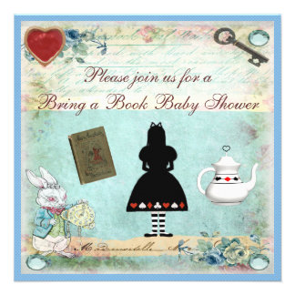 Bring a Book Alice in Wonderland Baby Shower Custom Invitations