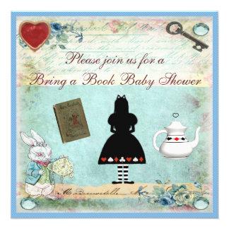 Bring a Book Alice in Wonderland Baby Shower Custom Invites