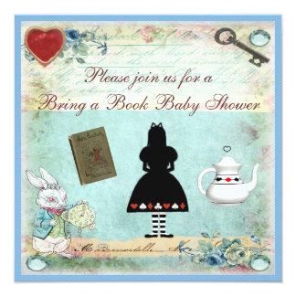 Bring a Book Alice in Wonderland Baby Shower Custom Invitations