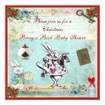 Bring a Book Alice in Wonderland Xmas Baby Shower Custom Invitation