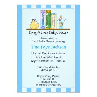 "Bring a Book Baby Shower Invitation (Boy) 5"" X 7"" Invitation Card"
