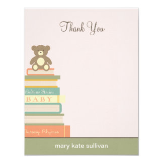 Bring A Book Baby Shower Thank You Cards (Pink) 11 Cm X 14 Cm Invitation Card