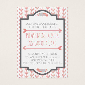 Bring A Book Card, Aztec, Arrows, Baby Shower Business Card