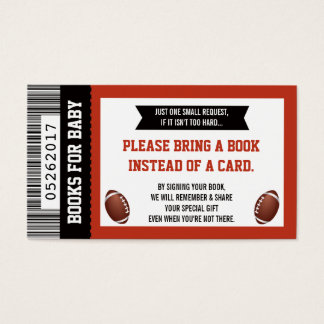 Bring A Book Card, Sports Ticket, Baby Shower Business Card