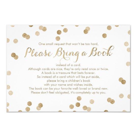 Bring a Book Faux Gold Confetti Modern Insert