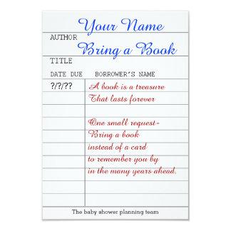 Bring a book insert 9 cm x 13 cm invitation card