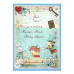 Bring a Book Mad Hatter & Cheshire Cat Baby Shower Personalised Invitations