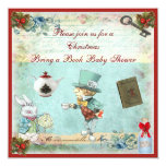 Bring a Book Mad Hatter Christmas Baby Shower Invite