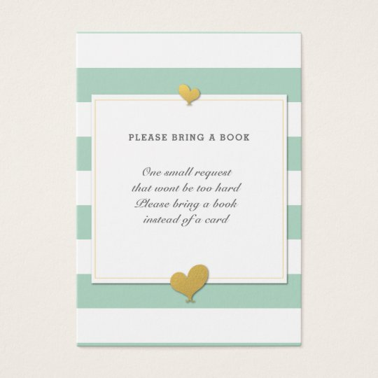 Bring a Book Mint Striped Baby Shower Enclosure Business Card