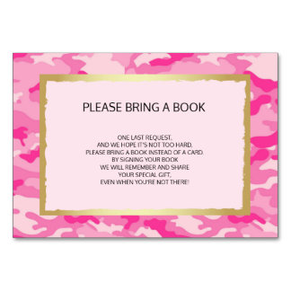 Bring a Book - Pink CAMO Girl Baby Shower Cards