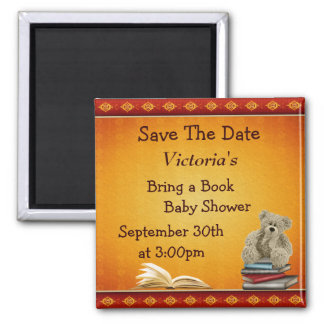 Bring a Book Teddy Baby Shower Save the Date Magnet