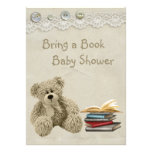 Bring a Book Teddy Vintage Lace Print Baby Shower Personalized Invitation