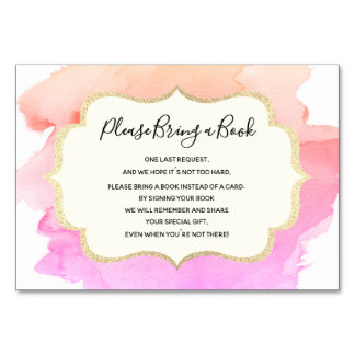 Bring a Book - Watercolor Pink GIRL Baby Shower Card