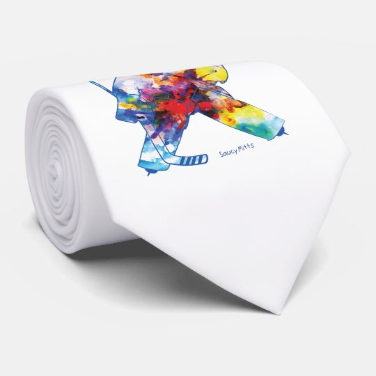 Bring It Hockey Goalie Watercolor Colourful Tie