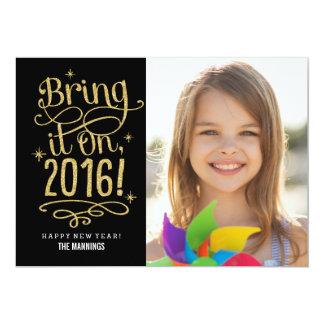 Bring It On 2016 Happy New Year Photo Card 13 Cm X 18 Cm Invitation Card