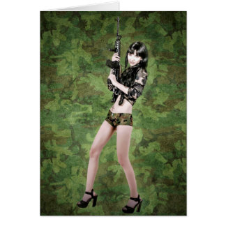 BRING IT ON! (girl with machine gun) ~ Card