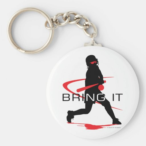 Bring it Red Batter Softball Basic Round Button Key Ring
