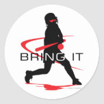 Bring it Red Batter Softball Round Stickers