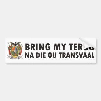 Bring my terug na die ou Transvaal Bumper Sticker