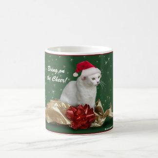 """Bring on the Cheer"" Christmas Cat Mug"