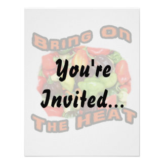 Bring On The Heat Hot Pepper Pile Graphic Personalized Invites