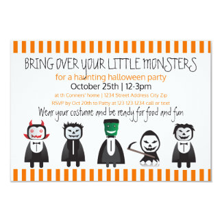 Bring over your monsters-3x5Halloween Party Invite