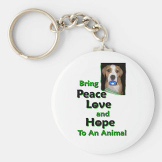 bring peace love and hope to a animal basic round button key ring