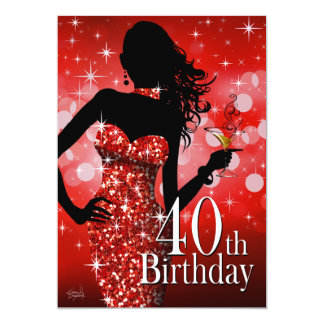 Bring the Bling 40th Birthday | red 13 Cm X 18 Cm Invitation Card