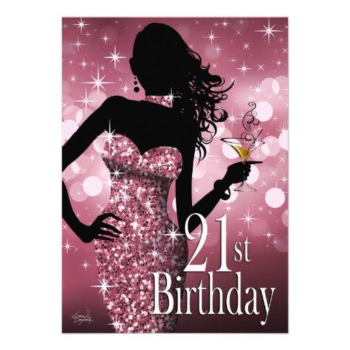 Bring the Bling Sparkle 21st Birthday | mauve Invite