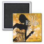 Bring the Bling Sparkle 30th Birthday   gold Refrigerator Magnets