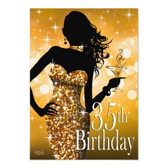 Bring the Bling Sparkle 35th Birthday | gold Card
