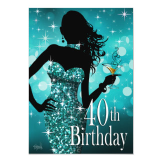 Bring the Bling Sparkle 40th Birthday   teal 5x7 Paper Invitation Card