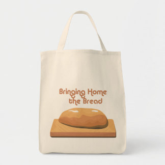 Bringing Home Baked Bread Grocery Tote bag. Grocery Tote Bag
