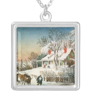 Bringing Home the Logs, Winter Landscape Silver Plated Necklace