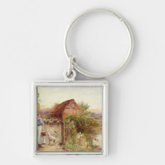 Bringing Home the Sheep Silver-Colored Square Key Ring