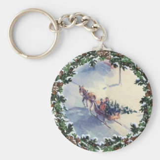 BRINGING HOME the TREE by SHARON SHARPE Basic Round Button Key Ring