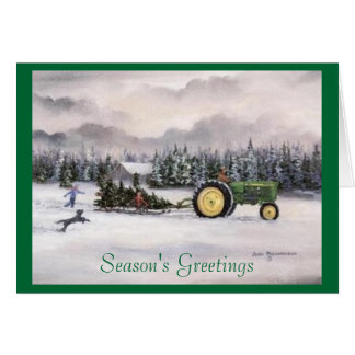 Bringing home the tree, Season's Greetings Card