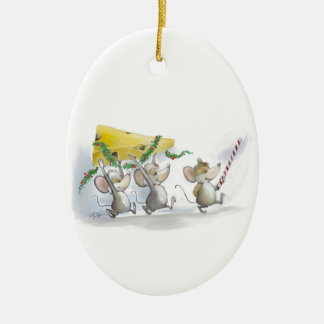 Bringing In The Christmas Cheese Oval Ornament