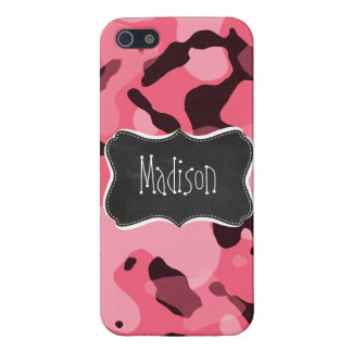 Brink Pink Camo; Camouflage; Retro Chalkboard Covers For iPhone 5