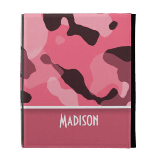 Brink Pink Camo; Personalized iPad Folio Case