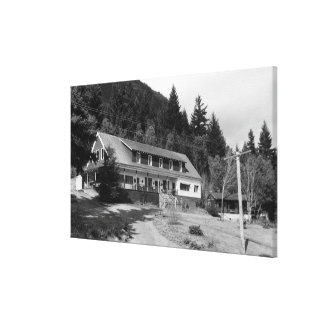 Brinnon, WA View of Olympic Inn on Hood Canal Canvas Print